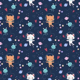 星と銀河の要素のシームレスなパターンを持つかわいい宇宙飛行士猫