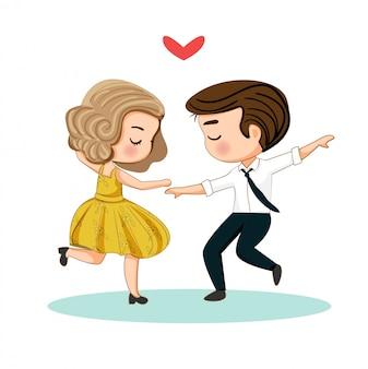 かわいいカップルが一緒に踊って手描きイラスト