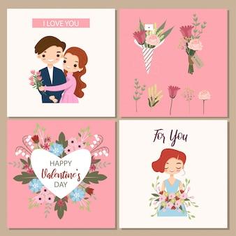 バレンタインの日の挨拶のかわいいカップルとバラの花