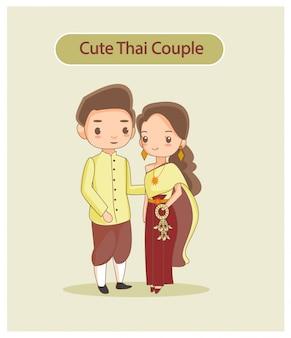 Симпатичная тайская пара в традиционной одежде.
