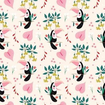 かわいい鳥とさまざまなアマゾンの花のシームレスパターン