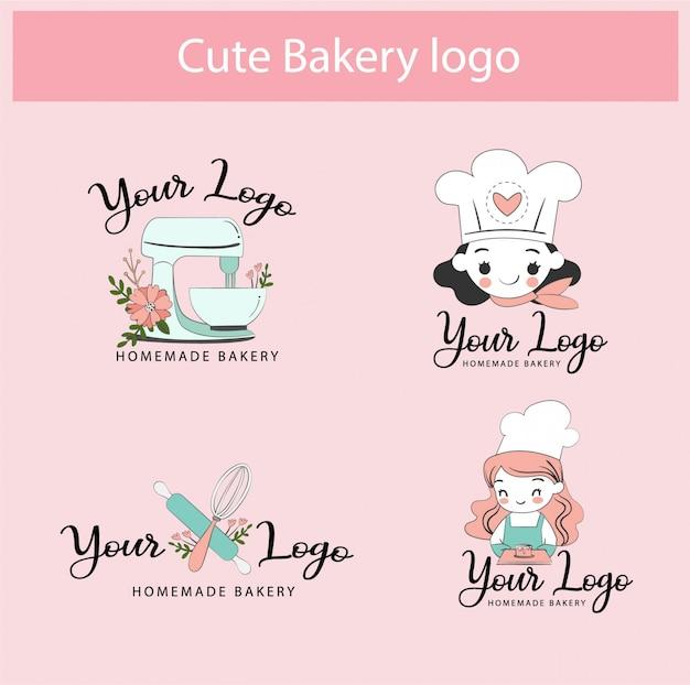 Симпатичный пекарня магазин логотипа шаблон дизайна коллекции набор