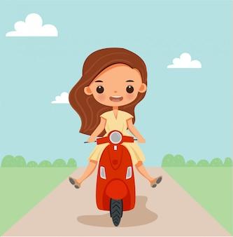 エキサイティングなかわいい女の子のベクトル漫画はバイクに乗る。