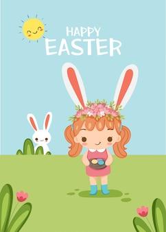 Милая девушка с яйцом и кроликом на пасху