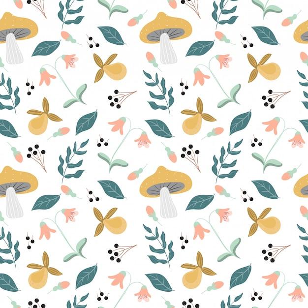 さまざまな熱帯雨林の花と植物のシームレスパターン