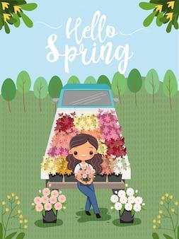 春の漫画のキャラクターのための花と幸せな女の子