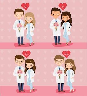 花との愛を示すかわいい医者カップル漫画のキャラクター