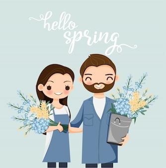 春の花とかわいいカップル漫画