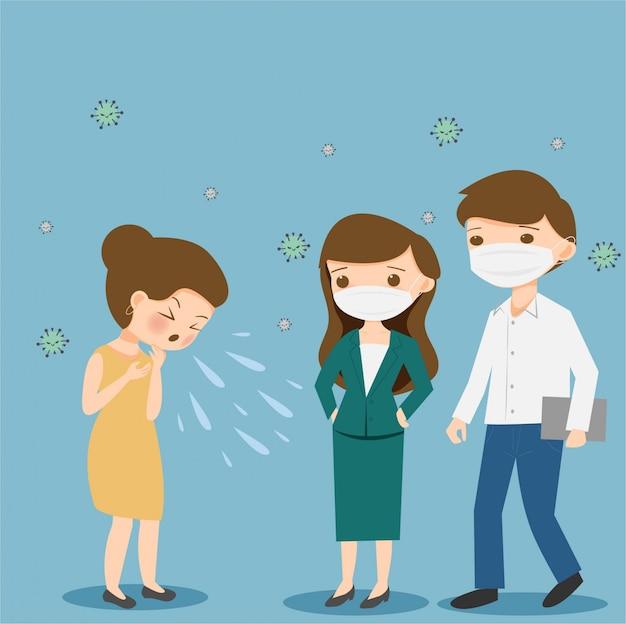 Кашель и чихание перед мужскими и женскими коллегами, концепция защиты от вирусов.