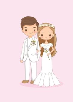 かわいい新郎新婦のカップルの漫画のキャラクター