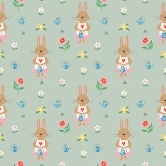 Симпатичный кролик и разнообразные цветы бесшовные модели