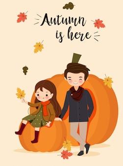 かわいい男の子と女の子の秋の衣装の漫画のキャラクター