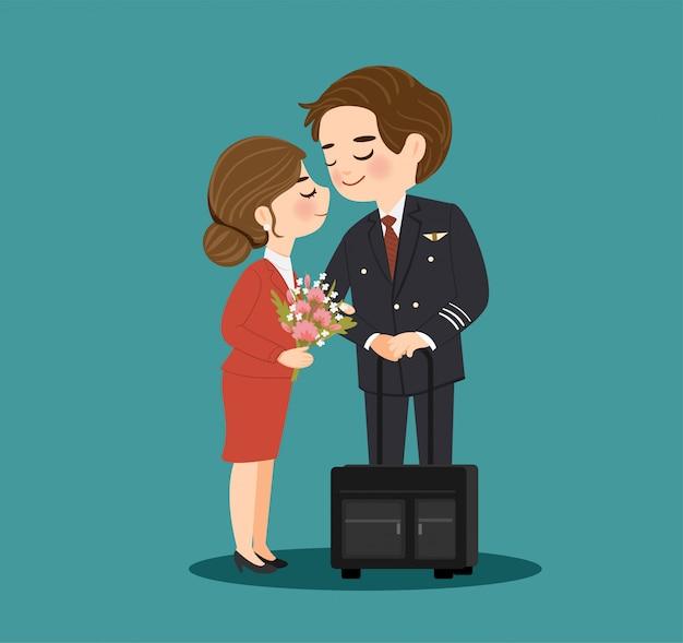 かわいいパイロットと客室乗務員の漫画のキャラクター