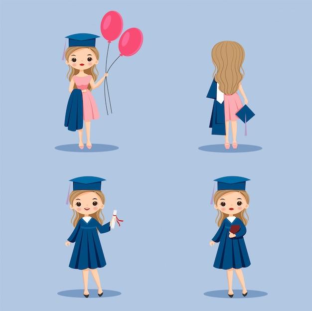 かわいい卒業ドレスセットの少女漫画
