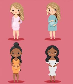 かわいい妊娠中の女の子の漫画のキャラクターセット