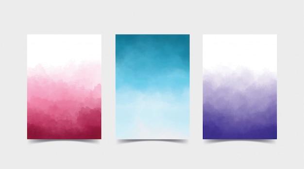 Акварель градиентный фон набор расслоений. подходит для обложек, фона для приглашения и креативного дизайна. набор состоит из трех цветов, розовый, синий и фиолетовый