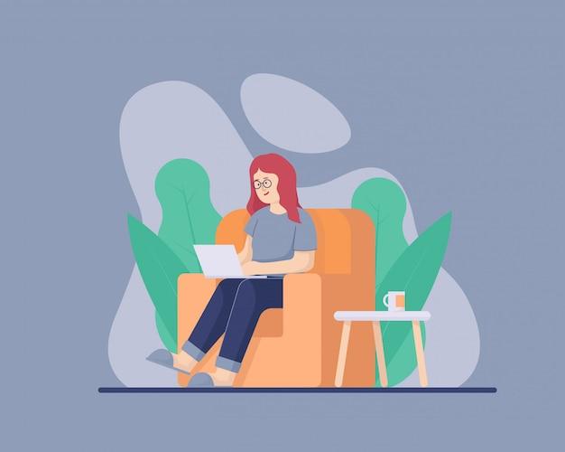 パンデミック自己検疫イラスト中に快適なソファーで彼女のラップトップを使用して自宅から女性の仕事