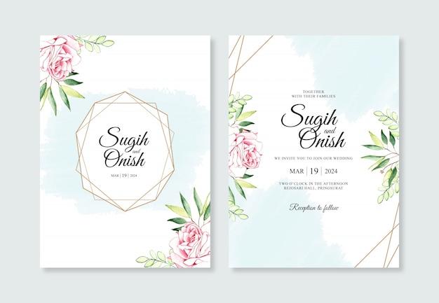 花とスプラッシュ水彩画とゴールドの幾何学的な結婚式の招待状のテンプレート