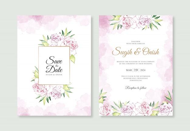 水彩花と水しぶきの結婚式の招待カードテンプレート