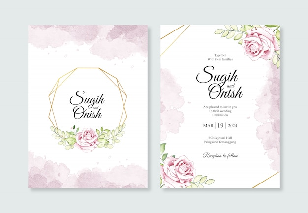 結婚式の招待状のテンプレートの水彩画の花と幾何学的な金