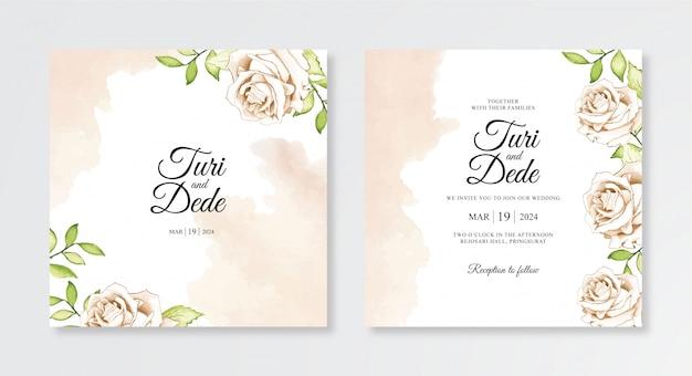 エレガントな水彩花と結婚式の招待状テンプレートのスプラッシュ