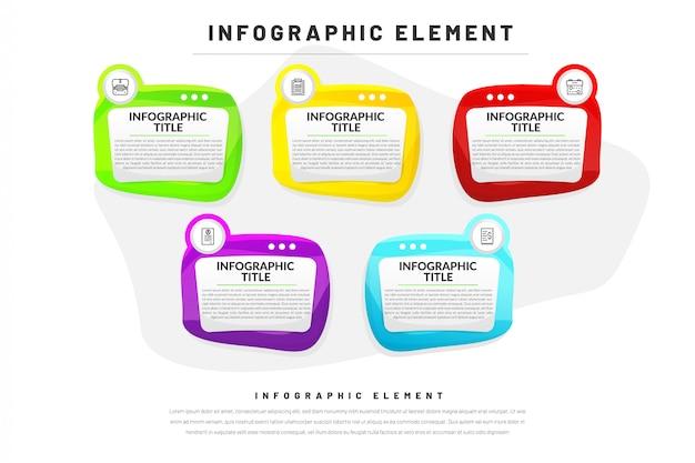 ビジネス、ウェブサイト、アイコン付きプレゼンテーションのフラットインフォグラフィックテンプレート