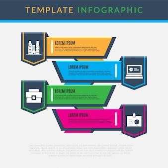 インフォグラフィックビジネステンプレートデザインクリーンで強力なプレゼンテーション