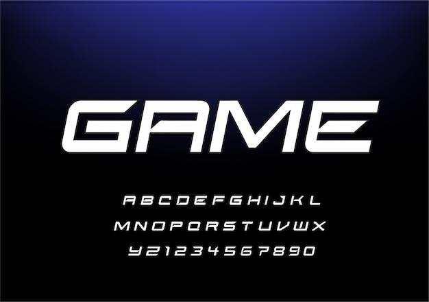 スポーツモダンな未来的なアルファベットのフォントです。テクノロジー、デジタル、映画のロゴデザインのタイポグラフィアーバンスタイルフォント。