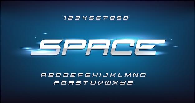スポーツモダンな未来的なアルファベットのフォントです。テクノロジー、デジタル、映画のロゴデザインのためのタイポグラフィアーバンスタイルフォント。