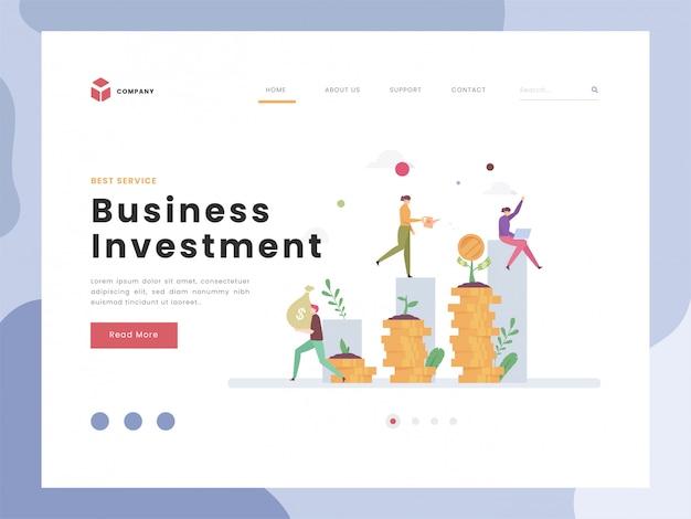 ランディングページテンプレート、投資、平らな小さなチームワークのベクトル図のアイデアコンセプトは、将来のビジネスに資金を供給するためにお金を養います。成功するビジネス戦略の収入を増やします。フラットスタイル。