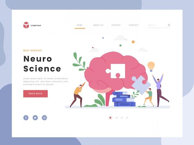 Шаблон целевой страницы, нейронаука, плоский крошечный родитель, направляющий их мальчика, решающего загадку. симболический нейрон мозга. мозговой штурм, научные исследования. плоский стиль