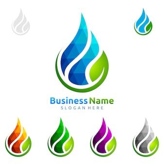 グリーンリーフエコロジーベクトルロゴデザインと青い水のドロップ