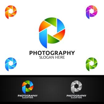 抽象的なカメラレンズの写真ロゴ