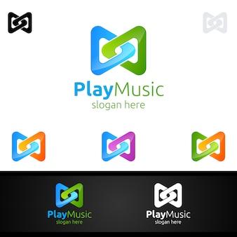 メモと再生の概念と抽象的な音楽ロゴ