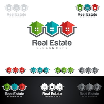 Логотип недвижимости с абстрактными свойствами и формой дома
