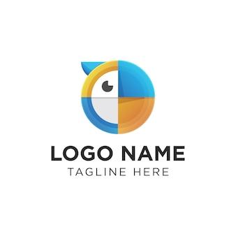 モダンなカラフルなサークルオウムのロゴ