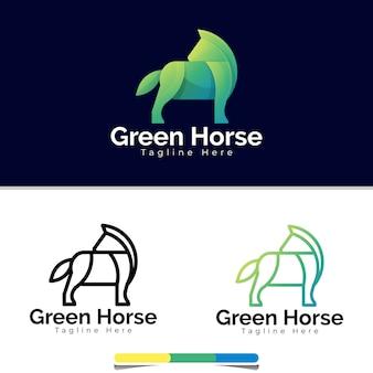 Шаблон логотипа зеленая лошадь