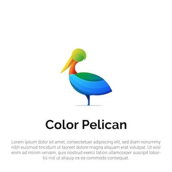 Красочный шаблон логотипа пеликан
