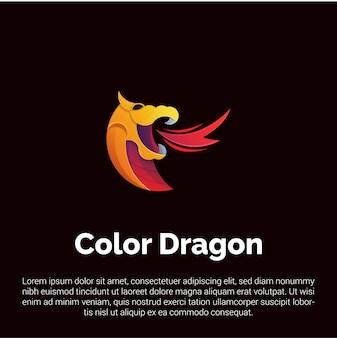 Шаблон логотипа красочный дракон