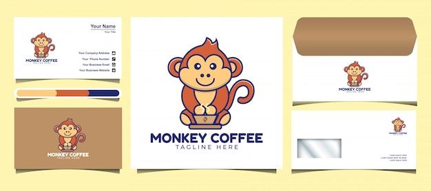 Симпатичные обезьяна пить кофе логотип дизайн шаблона. разработка логотипов, иконок, конвертов и визиток.