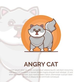 怒っている猫のロゴのデザインテンプレート