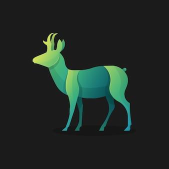 緑の鹿のロゴのテンプレートのイラスト