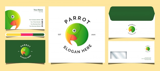 かわいいオウムのロゴのテンプレート。ロゴ、封筒、名刺のデザイン