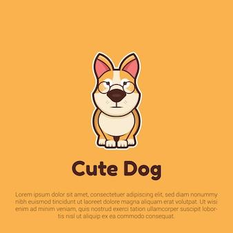 Шаблон логотипа милый пес.