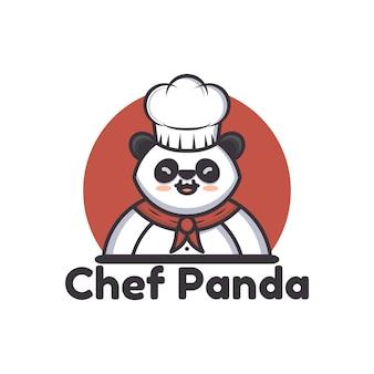 Иллюстрация шеф-повара панда логотип, значок, шаблон оформления наклейки
