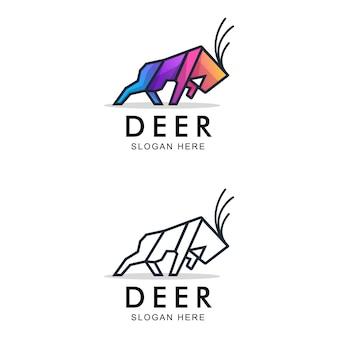 強い鹿のカラフルなロゴ