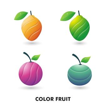 コレクションイラストカラフルなフルーツ、オレンジ、ライム、レモン、タンジェリンのロゴのテンプレート。