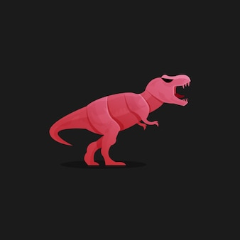 Шаблон логотипа красный динозавр