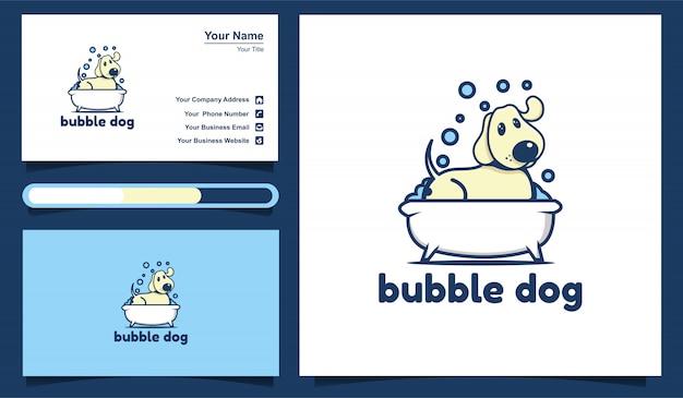 Иллюстрация пузыря собака, шаблон логотипа собаки мытья и шаблон дизайна визитной карточки.