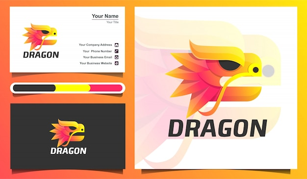 Шаблон логотипа головы дракона и шаблон визитной карточки